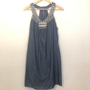 Chambray embroidered Aztec Boho Dress size Medium